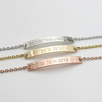 Coordinates bracelet Custom Coordinates sister gift hand stamped jewelry Anniversary Gift