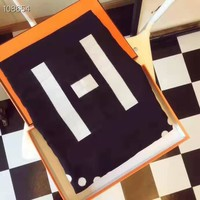 Hermes popular casual men and women black and white two-sided patchwork color scarf
