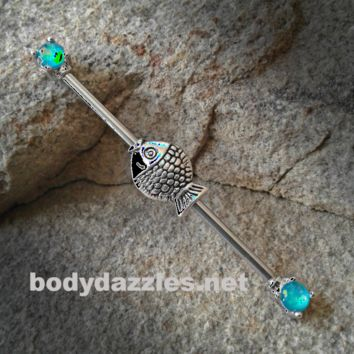Fish Glitter Opal Teal Ends Industrial Barbell 14ga Surgical Stainless Steel