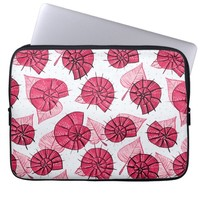 Pink Snails And Leaves Nature Lover Pattern Computer Sleeve