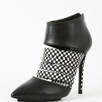 My-Way Pointy Leatherette Checkered Booties | MakeMeChic.com