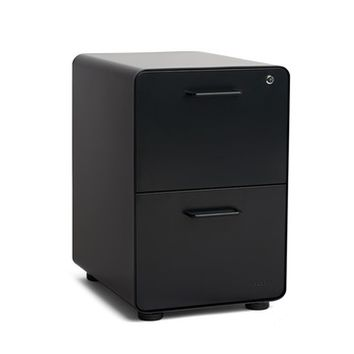 Black Stow 2-Drawer File Cabinet  Modern Office Furniture   Poppin