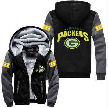 d10b75c07 USA size Men Women Football Green Bay Packers Zipper Jacket Thicken Hoodie  Coat Clothing Casual