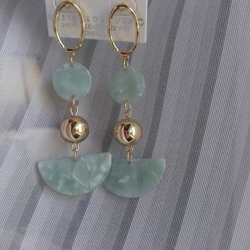 Half Moon Ball Earrings - Mint