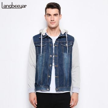 Men Casual Hooded Mens Coat Classic Jeans Mens Jackets And Coats