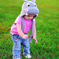1 Set Knit Newborn Baby Photography Props Crochet Outfit Costume Hat Gray Hippo Beanie XDT23 (Size: 1-2 Years, Color: Gray) = 1958116676