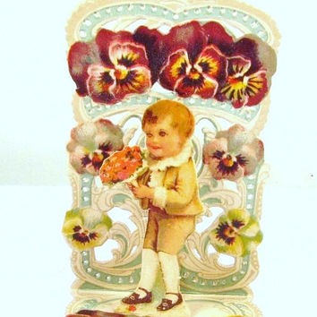 Germany Little Boy Violet Pansy Purple Flowers Die Cut Fold Out Embossed Valentine Card