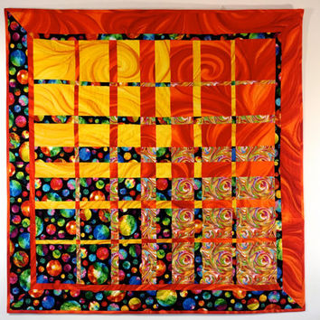 Modern Art Quilt , Textile Art , Quilted Wall Hanging , Vibrant Orange, Gold, Black ,  Office Decor , Convergence Fiber Art , Sally Manke
