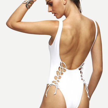 White Scoop Back Lace Up One Piece Swimwear