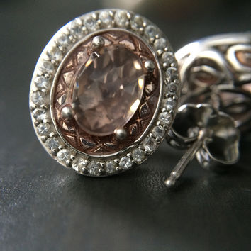 Regal Pink Crystal Ring and Earring Set - Size 7