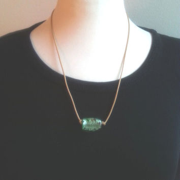 Brown leather necklace, green necklace, statement glass bead, womens necklaces, womans neckless, euro chic jewelry, gift ideas for her