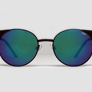 Quay Asha Black Sunglasses, Blue Lenses