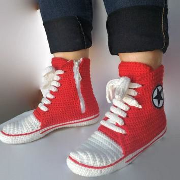Red Converse Slippers, Crochet Red Converse. Women and Man Converse Shoes. Booties, Cr