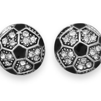 Crystal Soccer Ball Fashion Earrings