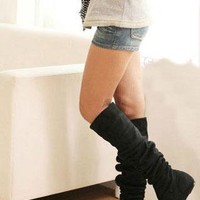 Women's Fashion Flat Over Knee Pull Down Boots in BLACK from NaomiShu