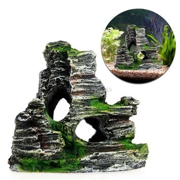 Mountain View Aquarium Rockery Hiding Cave Tree Fish Tank Ornament Decoration New H06