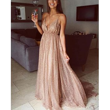Sparkly Long Prom Dresses Spaghetti Strap V Neck Nude Back Formal Evening Dress