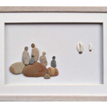 Personalized family gift, Pebble Art Family of five, Housewarming, New home gift, Nautical theme home décor, beach stones framed wall art