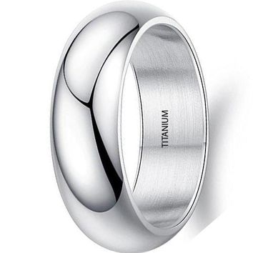 CERTIFIED 7mm Simple Style Silver Titanium Stainless Steel Wedding Ring Domed 18k White Gold Engagement Band