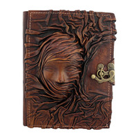 Scarfed Woman On A Leather Journal / Notebook / Diary / Sketchbook / Leatherbound