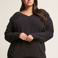 Plus Size Chenille Knit Lace-Up Sweater