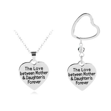 1pcs European And American Jewelry The Love Between Love Necklace Mother And Daughter Pendants Key Chain