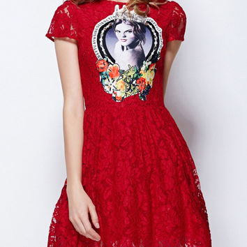 Red Short Sleeve Patch Embroidered Lace A-Line Pleated Mini Dress with Beads