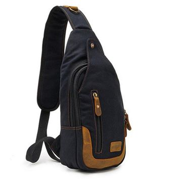 Casual One Strap Backpack Men Rugzakken Canvas Chest Bag Small Crossbody Shoulder Back Pack Women Single Strap Backpack Rucksack