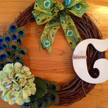 Spring Summer Peacock Feather Monogram Grapevine Wreath, Peacock Feather Wreath, Peacock Wreath, Peacock Grapevine Wreath, Grapevine Wreath