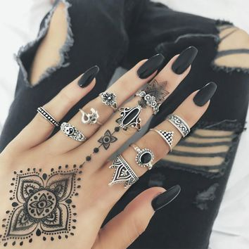 WLP New Ring set Retro Elegant Mysterious Carved Yin and Yang Gossip Graphic Moon Gem Yoga Symbol Combination rings for women