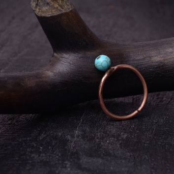 Simple turquoise copper ring bohemian ring turquoise jewelry metalwork bead ring dainty Size 7.5 girlfriend gift ring