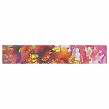 """Ebi Emporium """"The Perfect Storm"""" Red Pink Painting Table Runner"""