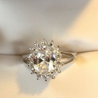 Sparkly Synthetic Diamond Ring -Sterling from GemEnvy