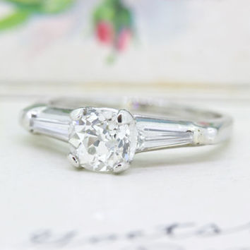 Simple Platinum Engagement Ring | Antique Cushion Cut Diamond Ring | Retro to Early Mid Century | Tapered Baguette Diamond | Size 6.25