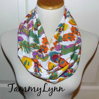 NEW!! Feather Scarf Fall Multi-Color on White Mustard, Purple, Orange, Blue, Green, Feathers on Wine Jersey Knit Infinity Scarf
