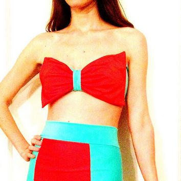 Color Block and Big Bow Bandeau Retro Bikini