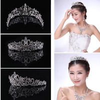Wedding Bridal Princess Austrian Crystal Hair Accessory Tiara Crown Veil Decor = 1933131652