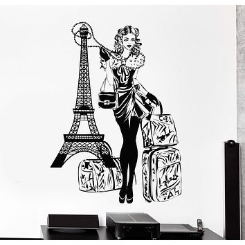 Wall Vinyl Decal Paris Eiffel Tower Hot Sexy Girl Travel Vacation Home Decor Unique Gift z4417