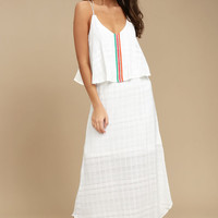 PPLA Lalo White Embroidered Maxi Dress
