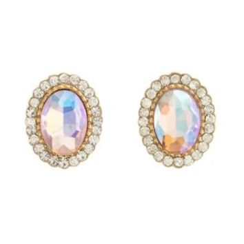 Gold Iridescent Crystal Stud Earrings by Charlotte Russe