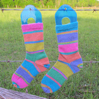 Striped Socks, Pink, Yellow, Blue, Purple, Multicolour Mismatched Socks, Hand Knit Socks, Merino Cashmere Blend