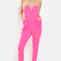 Strapless V Wired Textured Jumpsuit | MakeMeChic.com