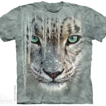 New BIG ICICLE SNOW LEOPARD FACE T SHIRT