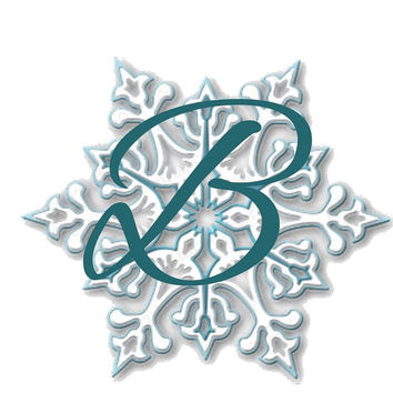 SNOWFLAKE ALPHABET Word Art Letters, Numbers and Symbols Frozen Snow Flake Frost Blue
