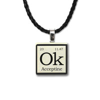 Funny Made Up Periodic Table Elements Ceramic Tile Pendant Necklace Ok - Acceptine