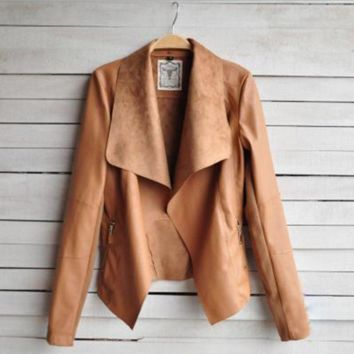 Womens Leather Jacket Outwear Coat