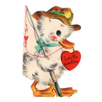 Old Hallmark Kids Valentine White Duck Fishing Pole 1950s Greeting Card Retro Childrens Greeting Card, Craft Projects, Scrapbooking