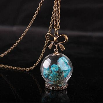 Vintage Necklace Wishing Bottle Glass Necklaces Pendants Jewelry Bow Chain Necklace For Women Gift Fashion Dried Flower
