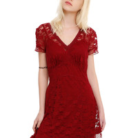 Royal Bones By Tripp Burgundy Lace Dress