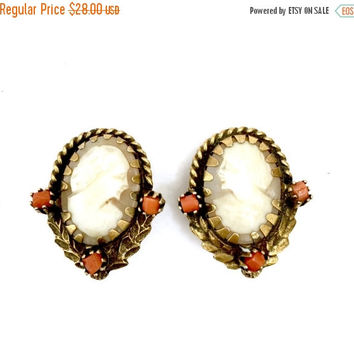 Carved Shell Cameo Earrings, Natural Coral Accents, Heraldic Laurel Leaves in Antiqued Gold Tone Metal, Vintage Jewelry, Clip-On Earrings